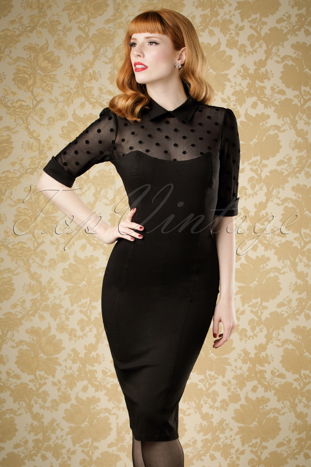 1950s Dresses, 50s Dresses | 1950s Style Dresses 50s Wednesday Polkadot Pencil Dress in Black £42.72 AT vintagedancer.com