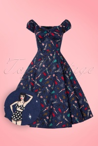 Collectif Clothing Dolores Navy Swing Paper Dolls Dress 102 39 19042 20160831 0006W1