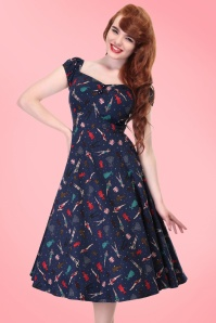 50s Dolores Paper Pin Up Doll Dress in Navy