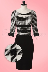 Miss Candyfloss Black and White Houndstooth Pencil Dress 100 14 16245 20160831 0003WVDoll