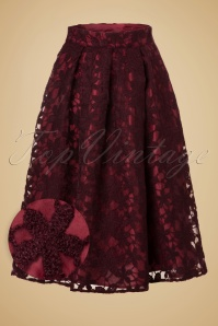 50s Emily Floral Swing Skirt in Wine Red