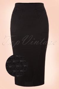 50s Agnes Rose Pencil Skirt in Black Jacquard