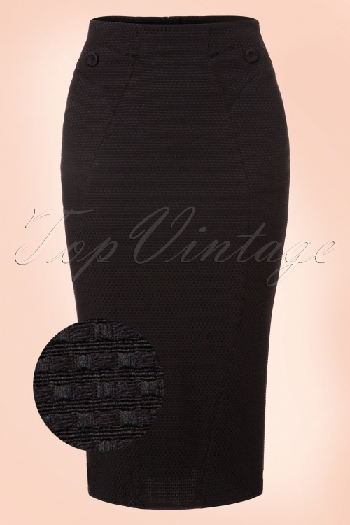 Miss Candyfloss Black Jaquar Pencil Skirt 120 10 19356 20160830 0003WV