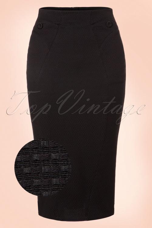 Miss Candyfloss Black Jaquar Pencil Skirt 120 10 19356 20160830 0003WV