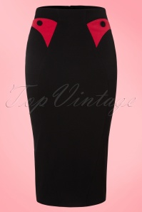 Miss Candyfloss Black and Red Pencil Skirt  120 20 19358 20160830 0002W