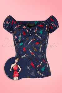 50s Dolores Paper Pin Up Doll Top in Navy