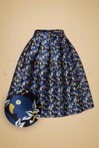 Louche Joyyous Parrot Skirt in Blue 122 39 18516 20160831 0002W1