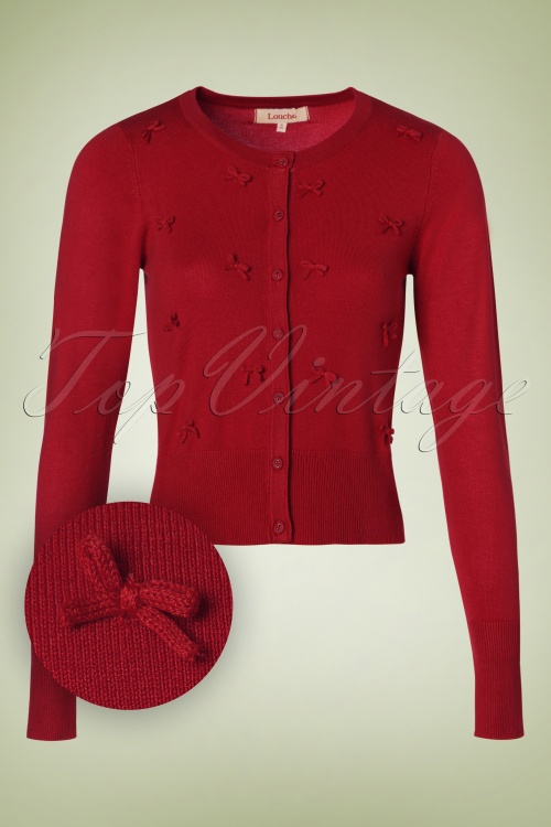 Louche Ivar Bow Cardigan in Red 140 80 18512 20160831 0005W1
