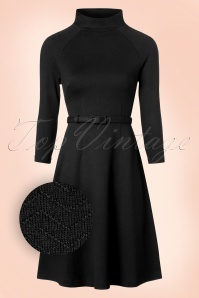 60s Monica Wide Chevron Dress in Black