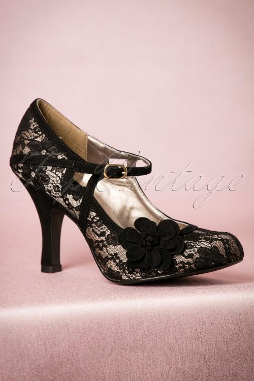 Ruby Shoo Elsy Pumps in Black Lace 402 10 18521 08302016 008W