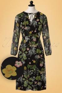 70s Noor Floral Midi Dress in Black