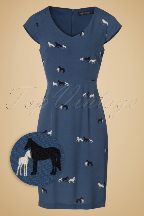Sugarhill Boutique Marli Horse Pencil Dress in Navy 100 39 18609 20160901 0003WV