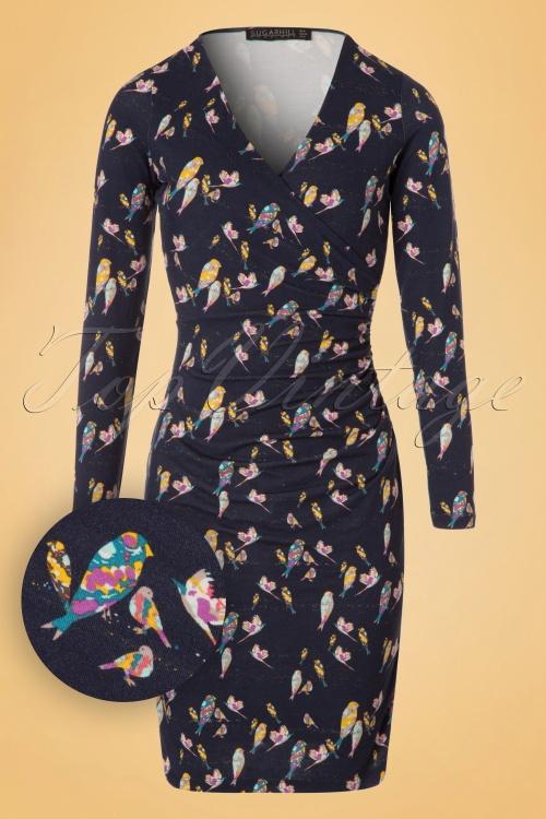 Sugarhill Boutique Callie Bright Birds Dress in Navy 100 39 18608 20160901 0006W1