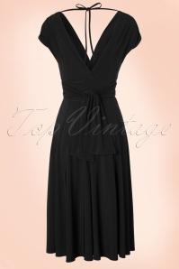 Vintage Chic V Neck Wine Black Dress 102 20 19594 20160902 09W