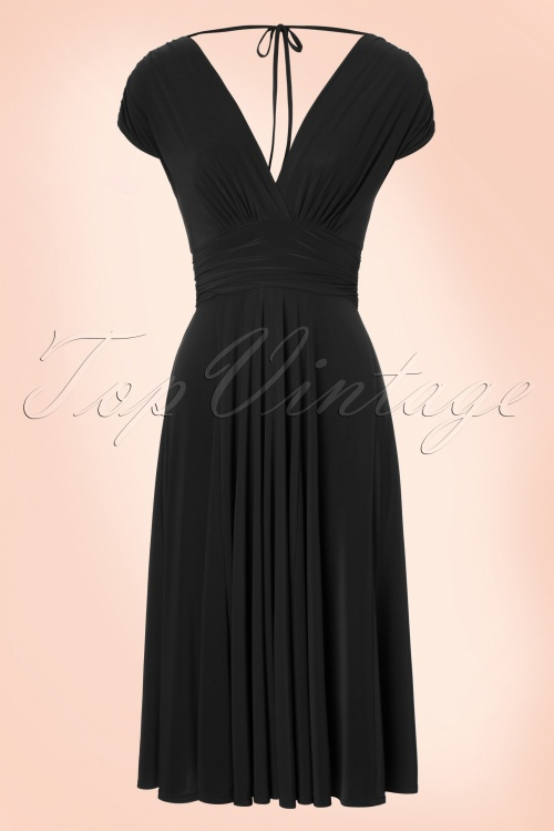 Vintage Chic V Neck Wine Black Dress 102 20 19594 20160902 0006