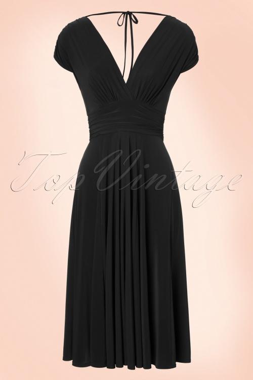 Vintage Chic V Neck Wine Black Dress 102 20 19594 20160902 0006