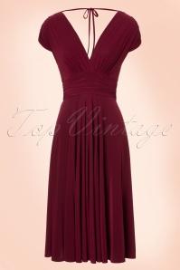Vintage Chic V Neck Wine Red Dress 102 20 19593 20160902 0006W