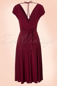 Vintage Chic V Neck Wine Red Dress 102 20 19593 20160902 0002W