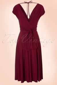 Vintage Chic V Neck Wine Red Dress 102 20 19593 20160902 0002W