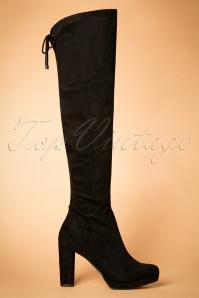 70s Clarissa Overknee Suedine Boots in Black