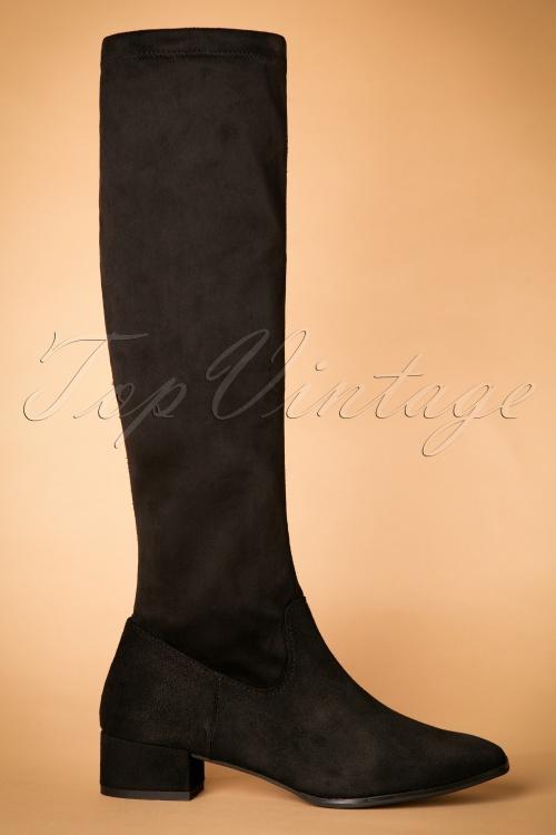 1200cdffdab5f Tamaris 60s Lenora High Suedine Boots in Black
