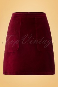 60s Leyla Velvet Skirt in Beet Red