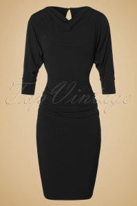 TopVintage exclusive ~ 50s Marilyn Wiggle Dress in Black