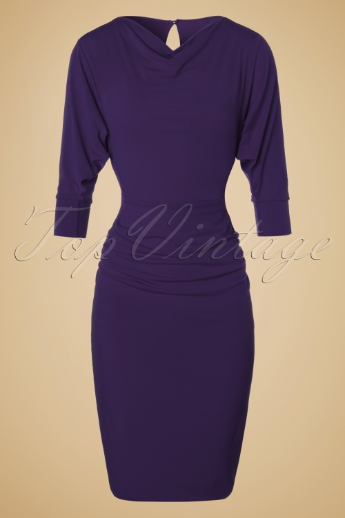 Zoe Vine 50s Marilyn Purple Batwing Dress 100 20 19065 20160907 0005W