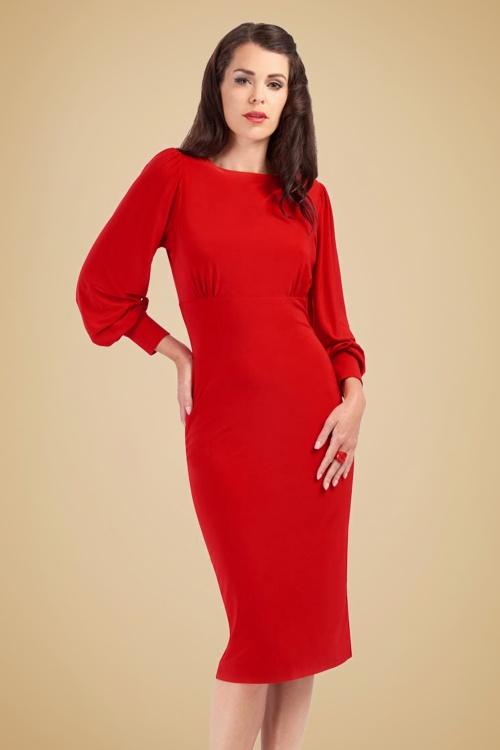 30s Valerie Bishop Sleeve Pencil Dress in Red