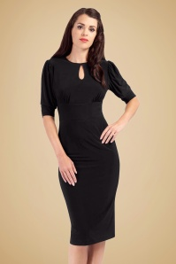 Zoe Vine Black Keyhole Pencil Dress 100 10 18517 20160907 model01