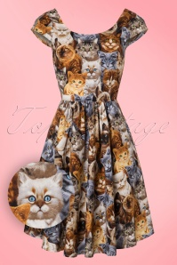 Retrolicious Cat Print Semi Swing Dress 102 79 10511 20160908 0003W1