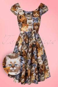 Retrolicious Cat Print Semi Swing Dress 102 79 10511 20160908 0003W1