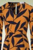 Closet London Leaf Print Dress in Mustard Navy 106 89 19702 20160908 0004V