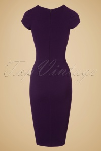 Vintage Chic Barbara Pleat Detail Dress in Aubergine 100 60 19602 20160908 0014W