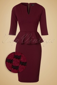 50s Jennifer Peplum Pencil Dress in Wine and Black