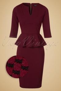 50s Jennifer Peplum Pencil Dress in Wine and Black