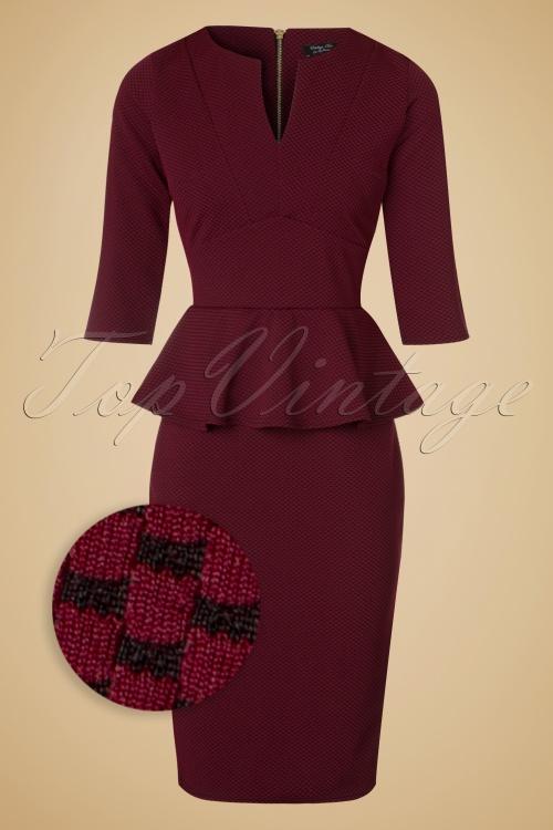 Vintage Chic Maddison V Neck Peplum Dress in Red Black 100 27 19780 20160908 0006WV