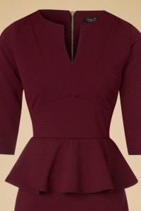 Vintage Chic Maddison V Neck Peplum Dress in Red Black 100 27 19780 20160908 0006C