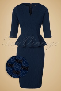 50s Jennifer Peplum Pencil Dress in Navy and Black