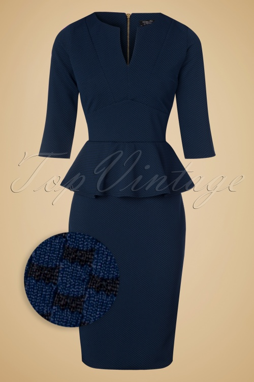 Vintage Chic Maddison V Neck Peplum Dress in Navy Black 100 39 19781 20160908 0013WV