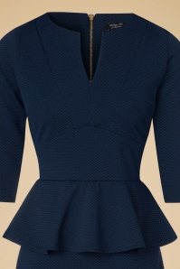 Vintage Chic Maddison V Neck Peplum Dress in Navy Black 100 39 19781 20160908 0013C