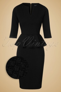 50s Jennifer Peplum Pencil Dress in Black