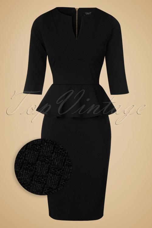 Vintage Chic Maddison V Neck Peplum Dress in Black 102 10 19604 20160908 0013WV
