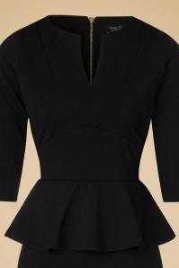 Vintage Chic Maddison V Neck Peplum Dress in Black 102 10 19604 20160908 0013A