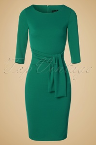 50s Victoria Pencil Dress in Jade