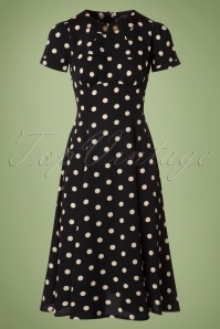 40s Madden Polkadot Swing Dress in Black