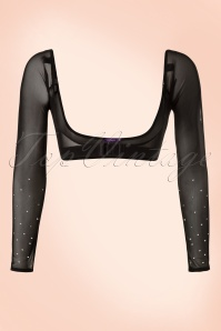 Jolie Long Crystal Mesh Sleeves en Noir