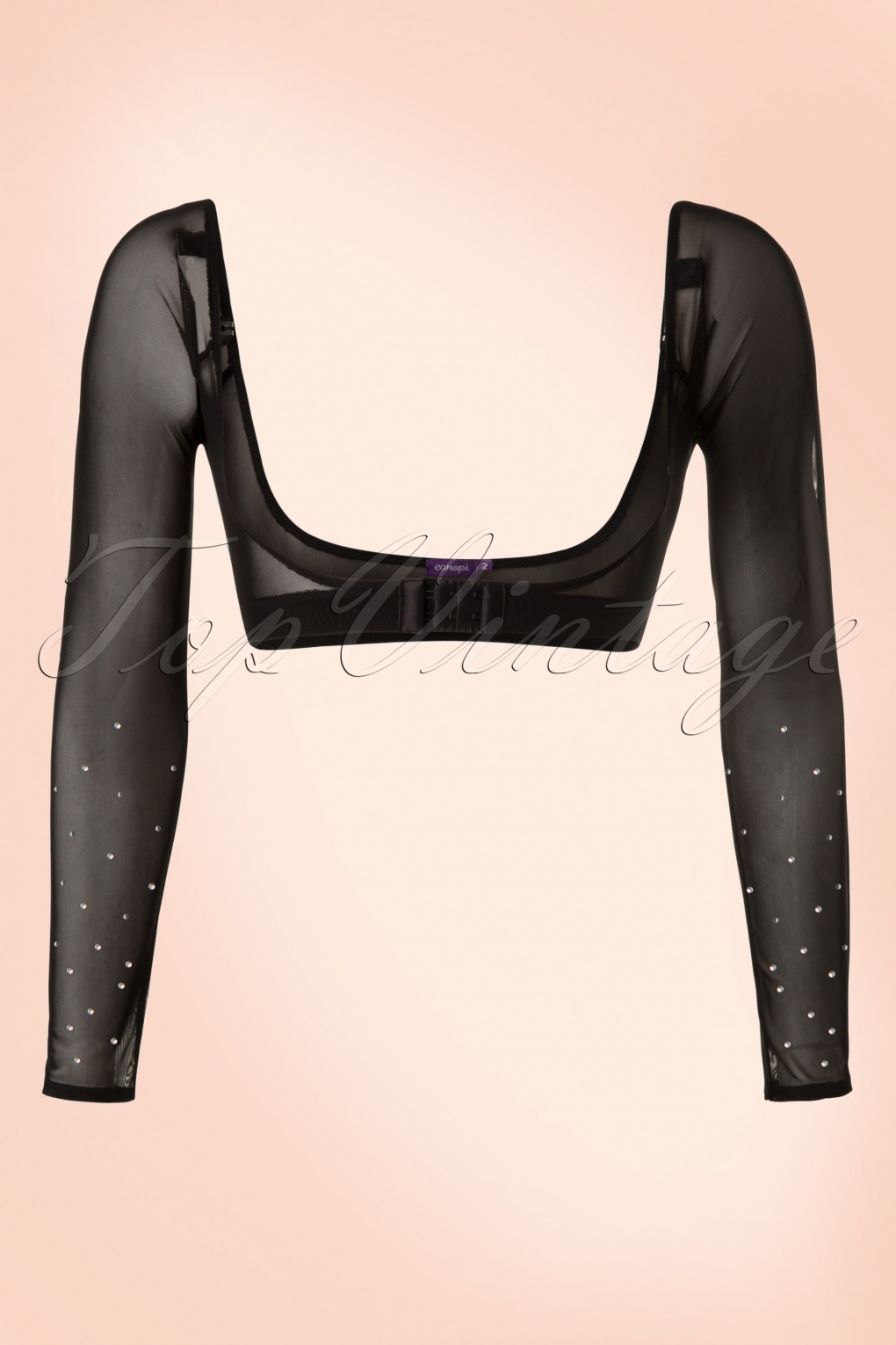 1920s Style Blouses, Shirts, Sweaters, Cardigans Jolie Long Crystal Mesh Sleeves in Black £51.56 AT vintagedancer.com