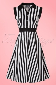 50s Debra Stripes Swing Dress in Black and White