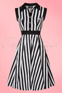 50s Debra Stripes Swing Dress in Black and White
